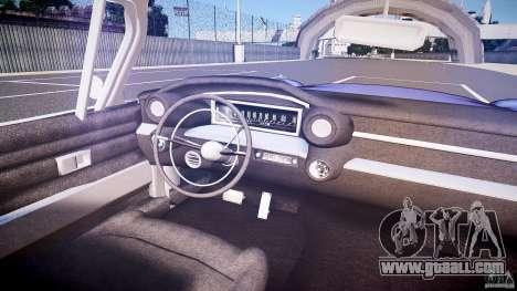 Cadillac Eldorado 1959 interior black for GTA 4 bottom view