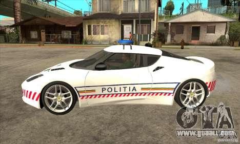 Lotus Evora S Romanian Police Car for GTA San Andreas left view