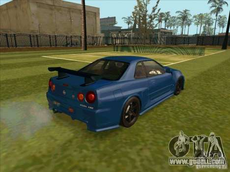 Nissan Skyline GT-R R34 from FnF 4 for GTA San Andreas back left view