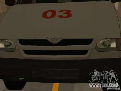 UAZ Simba SC ambulance for GTA San Andreas inner view