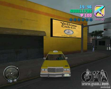 Ford Crown Victoria LTD 1985 Taxi for GTA Vice City inner view