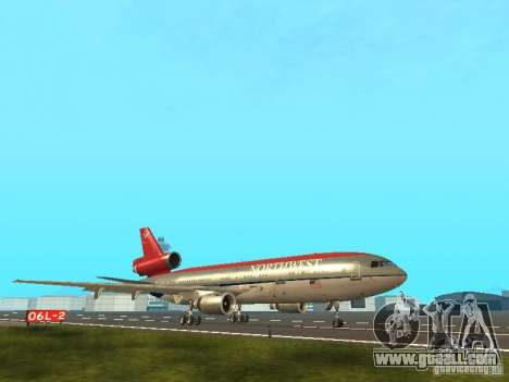 McDonell Douglas DC 10 Nortwest Airlines for GTA San Andreas back left view