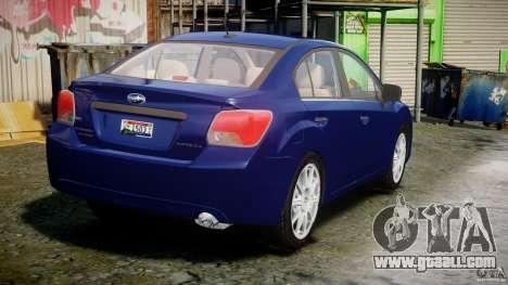 Subaru Impreza Sedan 2012 for GTA 4 side view