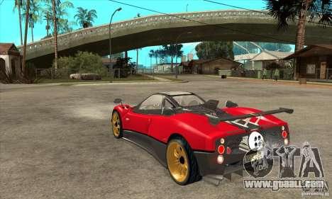 Pagani Zonda Tricolore V1 for GTA San Andreas back left view