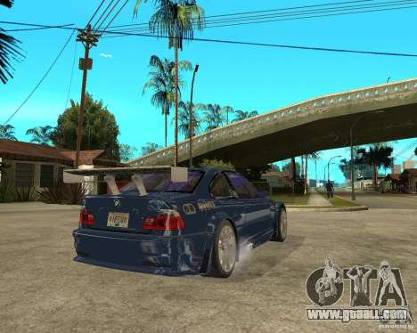 BMW M3 GTR from Need for Speed Most Wanted for GTA San Andreas back left view