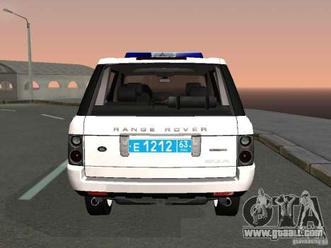 Range Rover Supercharged 2008 Police DEPARTMENT for GTA San Andreas back left view
