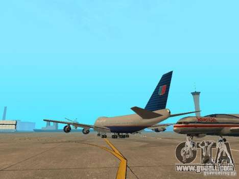 Boeing 747-100 United Airlines for GTA San Andreas back left view