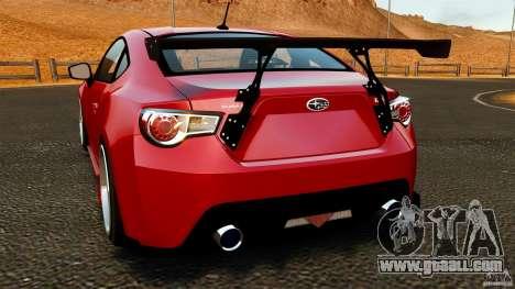 Subaru BRZ 2013 for GTA 4 back left view