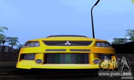 Mitsubishi Lancer Evolution IX 2006 for GTA San Andreas bottom view