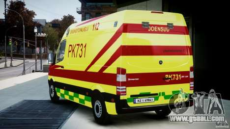 Mercedes-Benz Sprinter PK731 Ambulance [ELS] for GTA 4 back left view