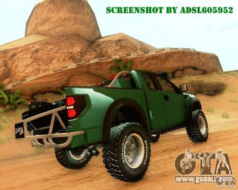 Ford F150 2011 SVT RapTor for GTA San Andreas inner view