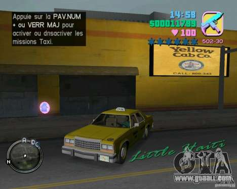 Ford Crown Victoria LTD 1985 Taxi for GTA Vice City side view