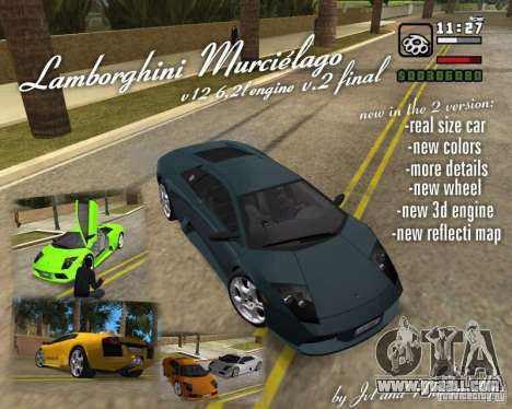 Lamborghini Murcielago V12 6,2L for GTA Vice City back view
