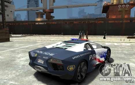 Lamborghini Reventon Police Stinger Version for GTA 4 right view