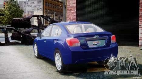 Subaru Impreza Sedan 2012 for GTA 4 back left view