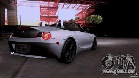 BMW Z4 V10 for GTA San Andreas back view
