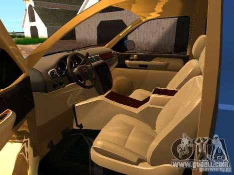 GMC Yukon Denali XL for GTA San Andreas inner view
