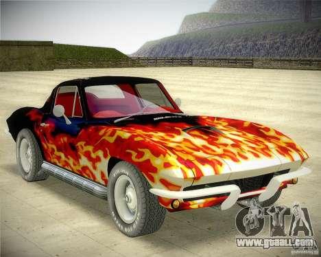 Chevrolet Corvette Stingray for GTA San Andreas back view