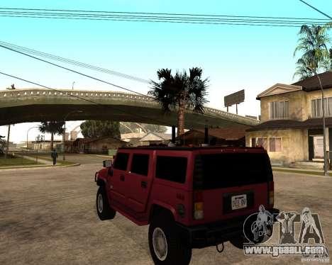 Hummer H2 SE for GTA San Andreas back left view
