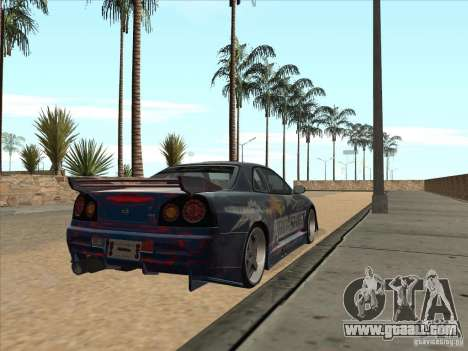 Nissan Skyline R34 VeilSide for GTA San Andreas back view
