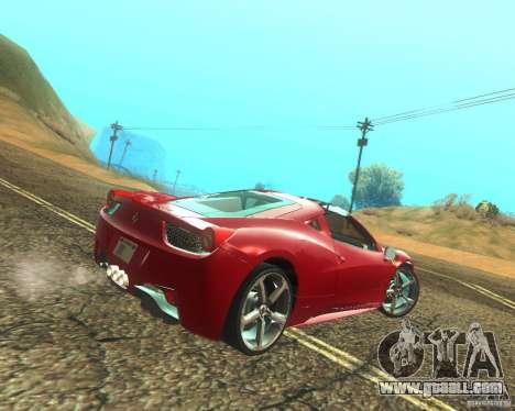 Ferrari 458 Italia Convertible for GTA San Andreas right view