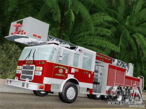Pierce Aerials Platform. SFFD Ladder 15 for GTA San Andreas left view