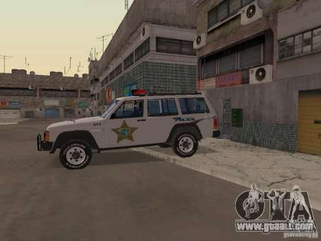 Jeep Cherokee Police 1988 for GTA San Andreas back view
