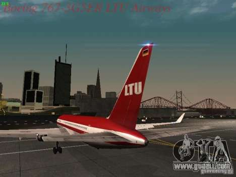 Boeing 767-3G5ER LTU Airways for GTA San Andreas back left view
