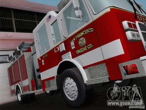 Pierce Pumpers. San Francisco Fire Departament for GTA San Andreas back view