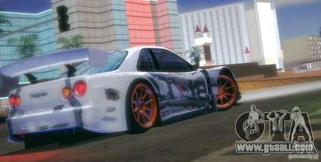 Nissan Skyline Touring R34 Blitz for GTA San Andreas upper view