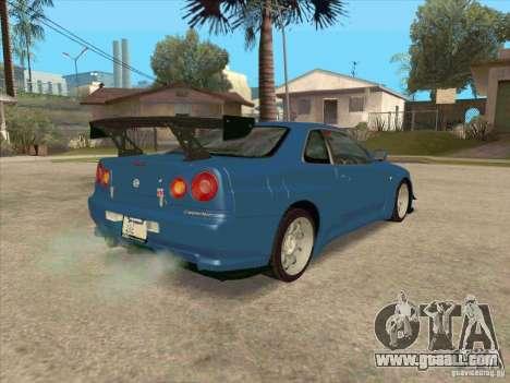 Nissan Skyline GT-R BNR34 Tunable for GTA San Andreas inner view