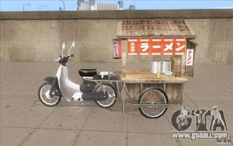 Honda Super Cub with a cart for GTA San Andreas left view