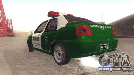 Fiat Siena Carabineros De Chile for GTA San Andreas right view