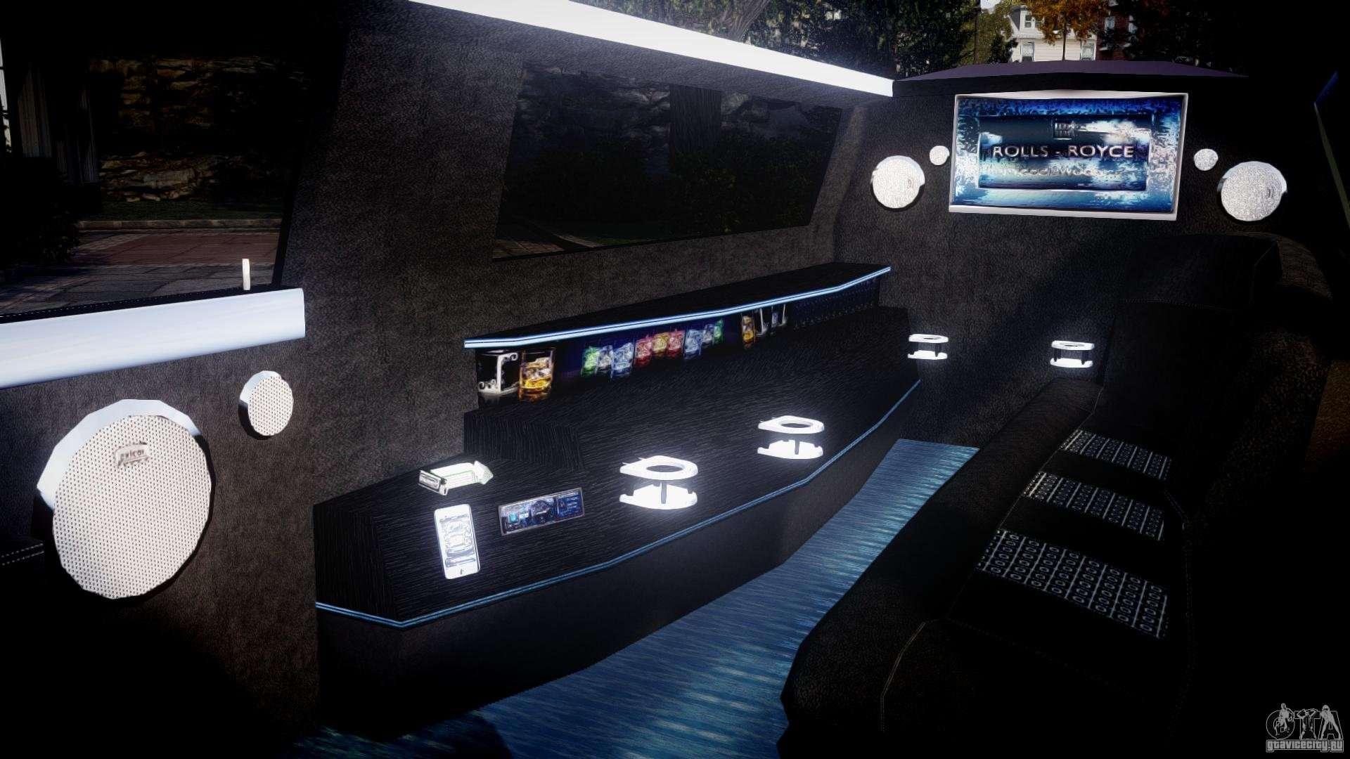 Rolls royce phantom sapphire limousine disco for gta 4 for Interieur limousine