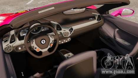 Ferrari 458 Spider Pink Pistol 027 Gumball 3000 for GTA 4 inner view