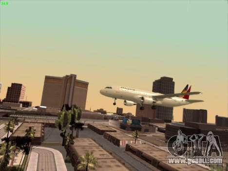 Airbus A320-211 Philippines Airlines for GTA San Andreas upper view