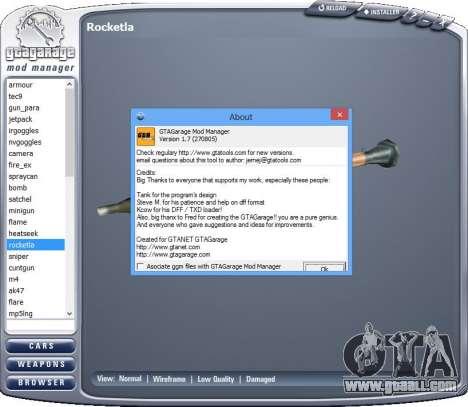 GTA Garage Mod Manager version 1.7 (270805) for GTA San Andreas third screenshot
