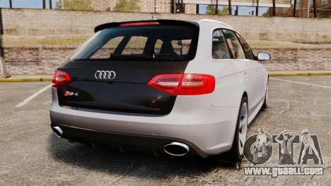 Audi RS4 Avant 2013 Sport v2.0 for GTA 4 back left view