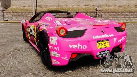 Ferrari 458 Spider Pink Pistol 027 Gumball 3000 for GTA 4 back left view