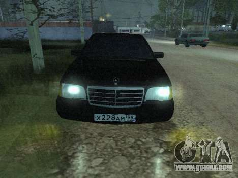 Mercedes-Benz w140 s600 for GTA San Andreas inner view