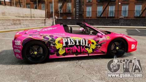 Ferrari 458 Spider Pink Pistol 027 Gumball 3000 for GTA 4 left view