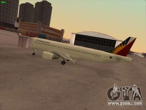 Airbus A320-211 Philippines Airlines for GTA San Andreas back left view