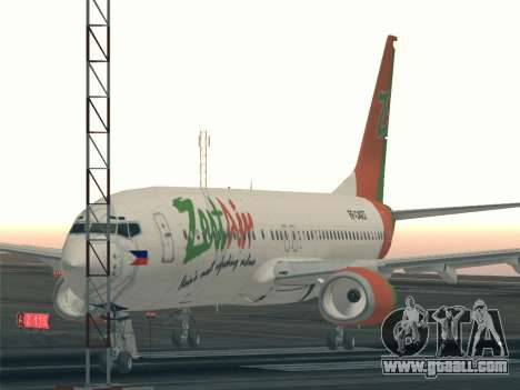 Boeing 737-800 Zest Air for GTA San Andreas upper view