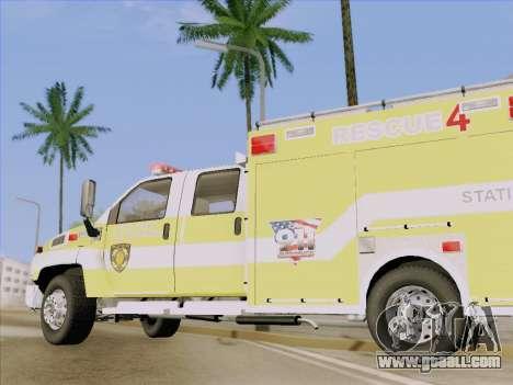 GMC C4500 Topkick BCFD Rescue 4 for GTA San Andreas upper view