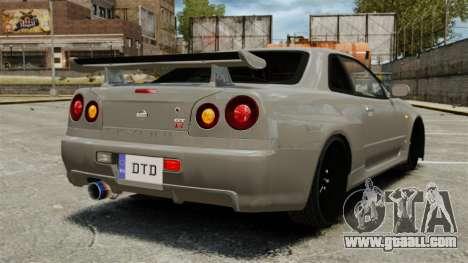Nissan Skyline R34 for GTA 4 back left view