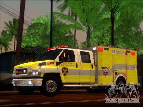 GMC C4500 Topkick BCFD Rescue 4 for GTA San Andreas back view