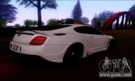 Bentley Continental GT for GTA San Andreas back view