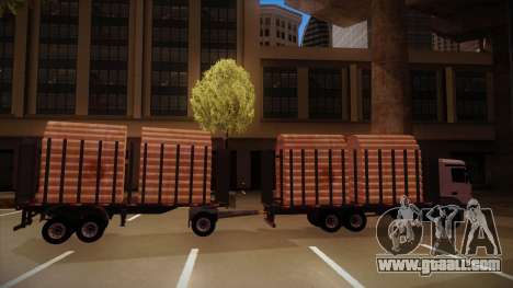 Semi-trailer timber truck for MB 2644 trem frent for GTA San Andreas back left view