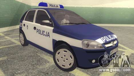 Opel Corsa C Policja for GTA San Andreas left view