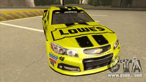 Chevrolet SS NASCAR No. 48 Lowes yellow for GTA San Andreas left view